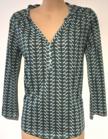 H&M GREEN FAN PRINT 3/4 SLEEVE SHIRT SIZE XS UK 8-10